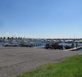 Cars launching boats at a marina